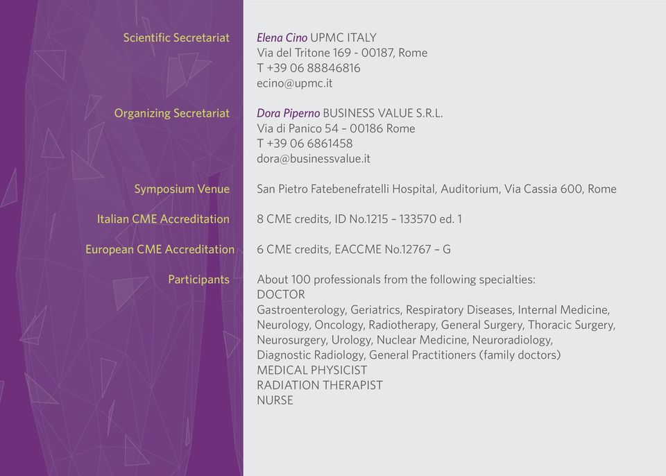 1 European CME Accreditation Participants 6 CME credits, EACCME No.