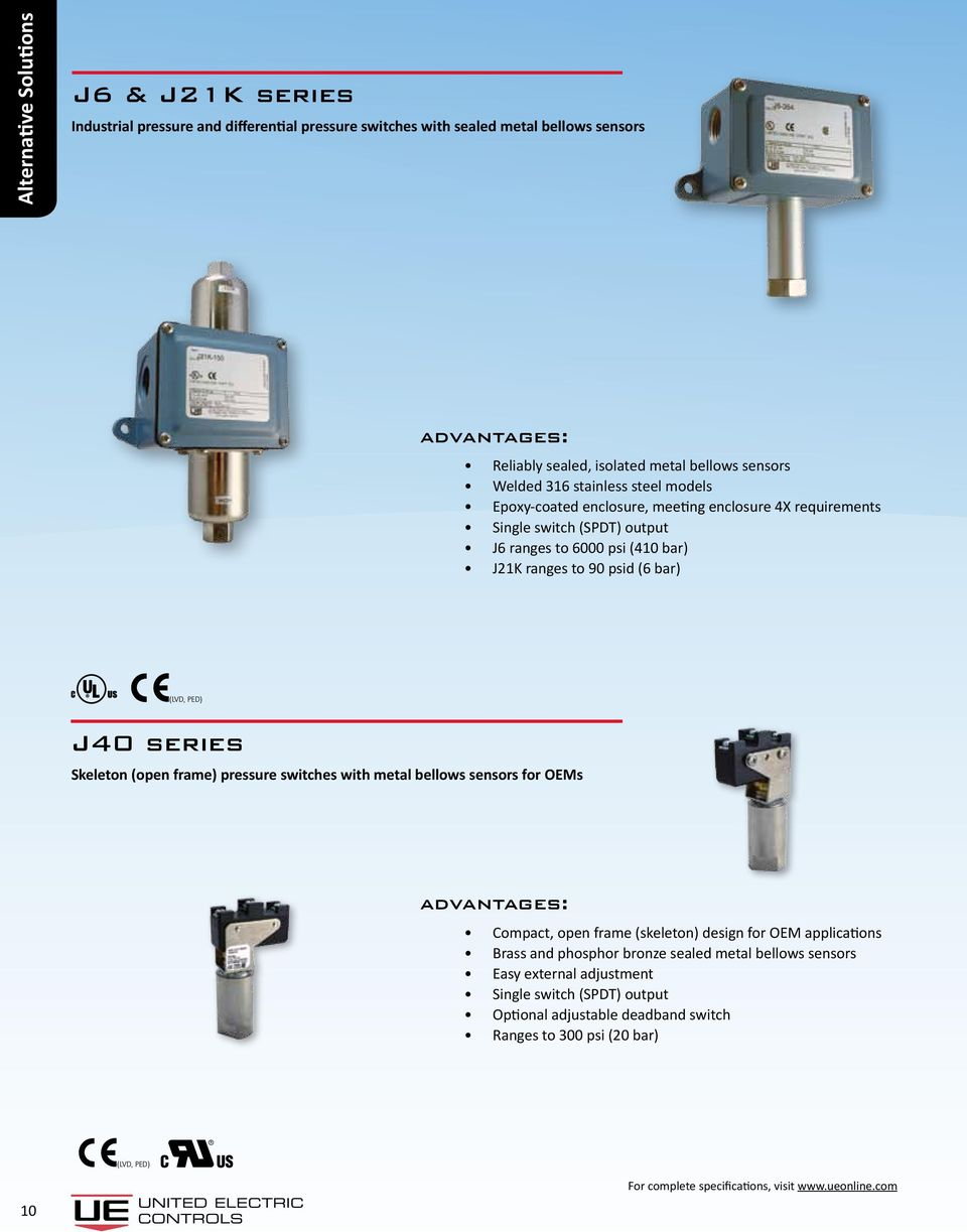 ranges to 90 psid (6 bar) J40 series Skeleton (open frame) pressure switches with metal bellows sensors for OEMs Compact, open frame (skeleton) design for OEM
