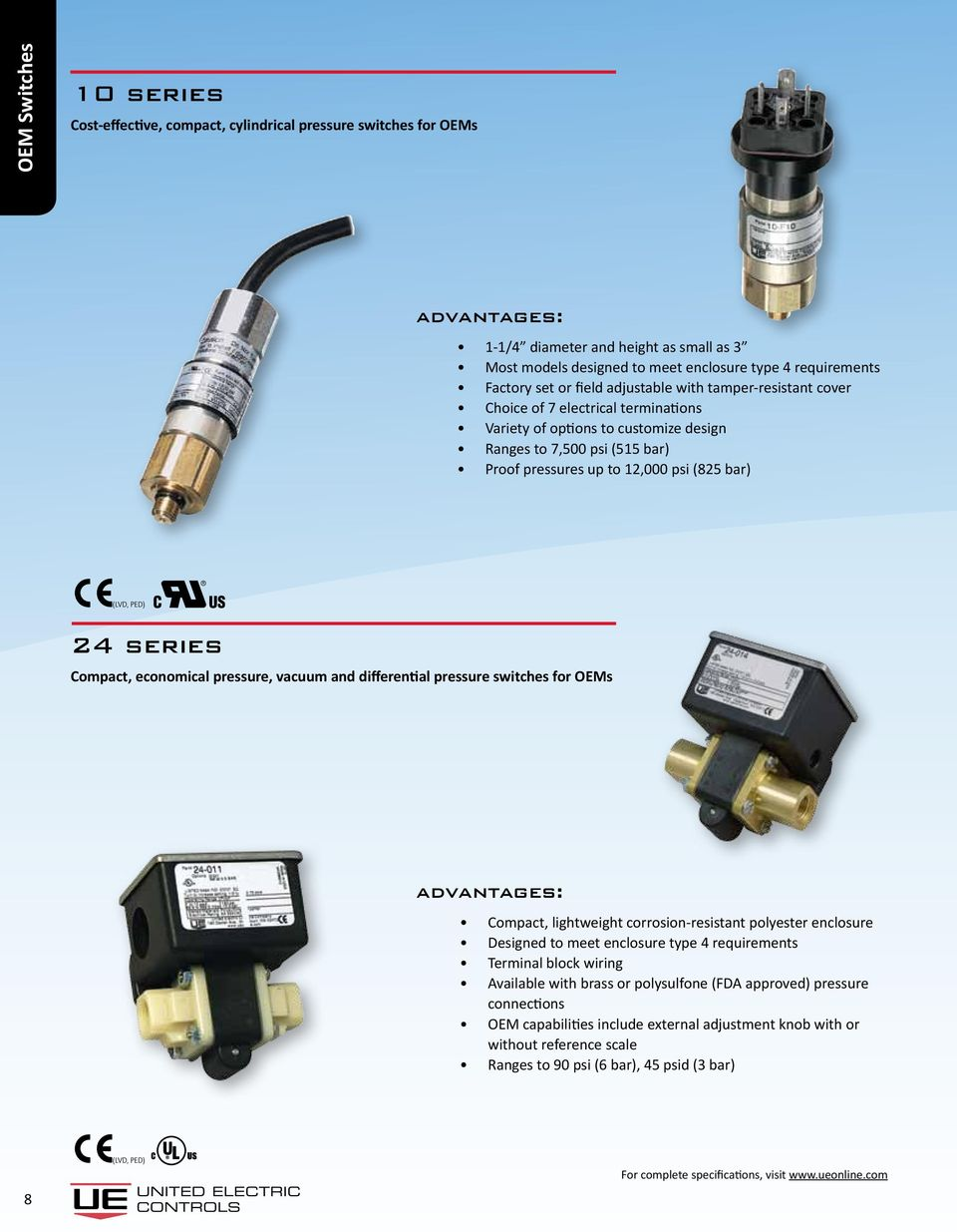 series Compact, economical pressure, vacuum and differential pressure switches for OEMs Compact, lightweight corrosion-resistant polyester enclosure Designed to meet enclosure type 4 requirements