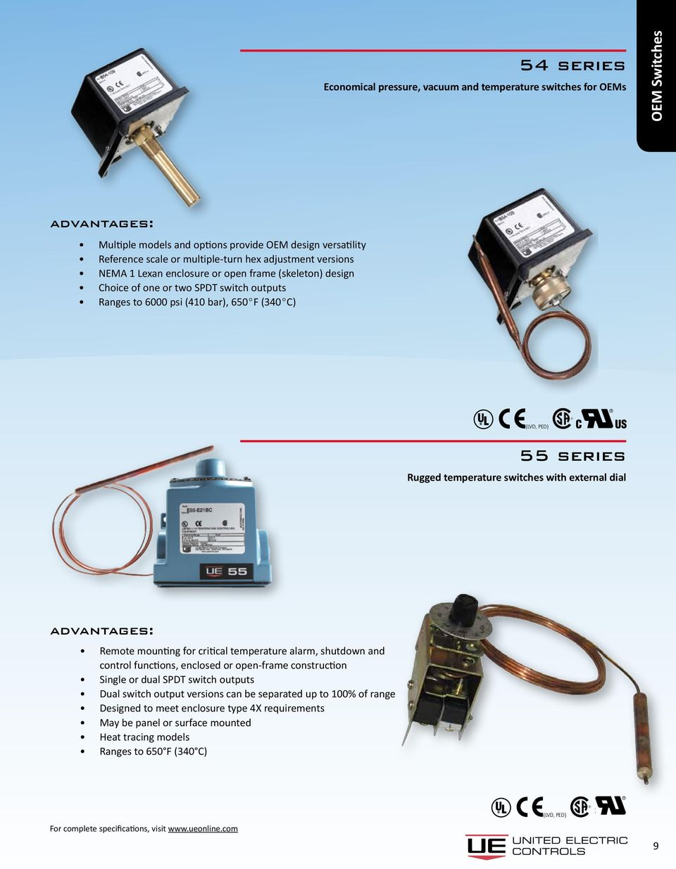 temperature switches with external dial Remote mounting for critical temperature alarm, shutdown and control functions, enclosed or open-frame construction Single or dual SPDT switch