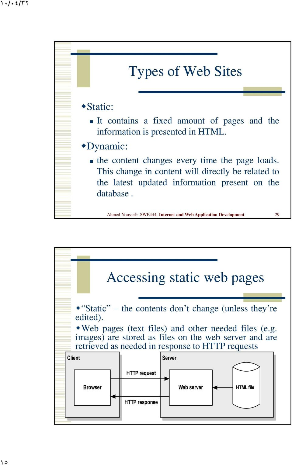 Ahmed Youssef:: SWE444: Internet and Web Application Development 29 Accessing static web pages Static the contents don t change (unless they re edited).