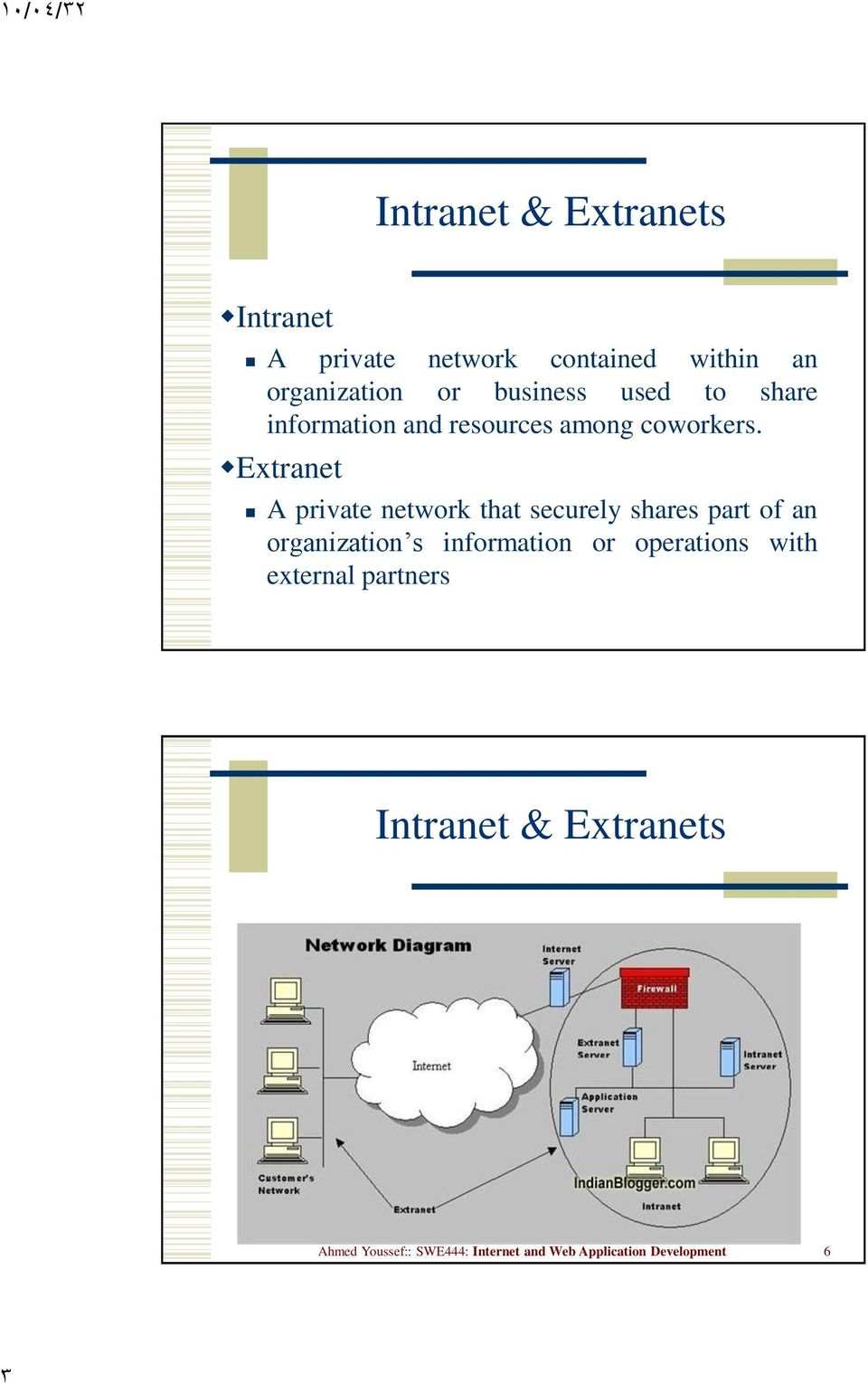 Extranet A private network that securely shares part of an organization s information or