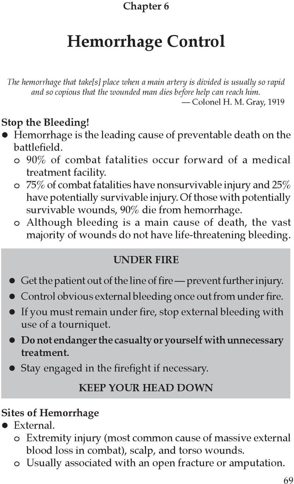 o 75% of combat fatalities have nonsurvivable injury and 25% have potentially survivable injury. Of those with potentially survivable wounds, 90% die from hemorrhage.