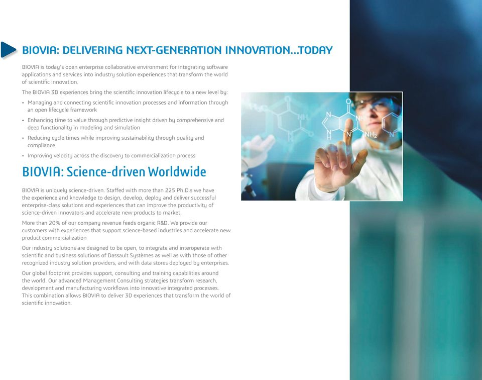 The BIOVIA 3D experiences bring the scientific innovation lifecycle to a new level by: Managing and connecting scientific innovation processes and information through an open lifecycle framework