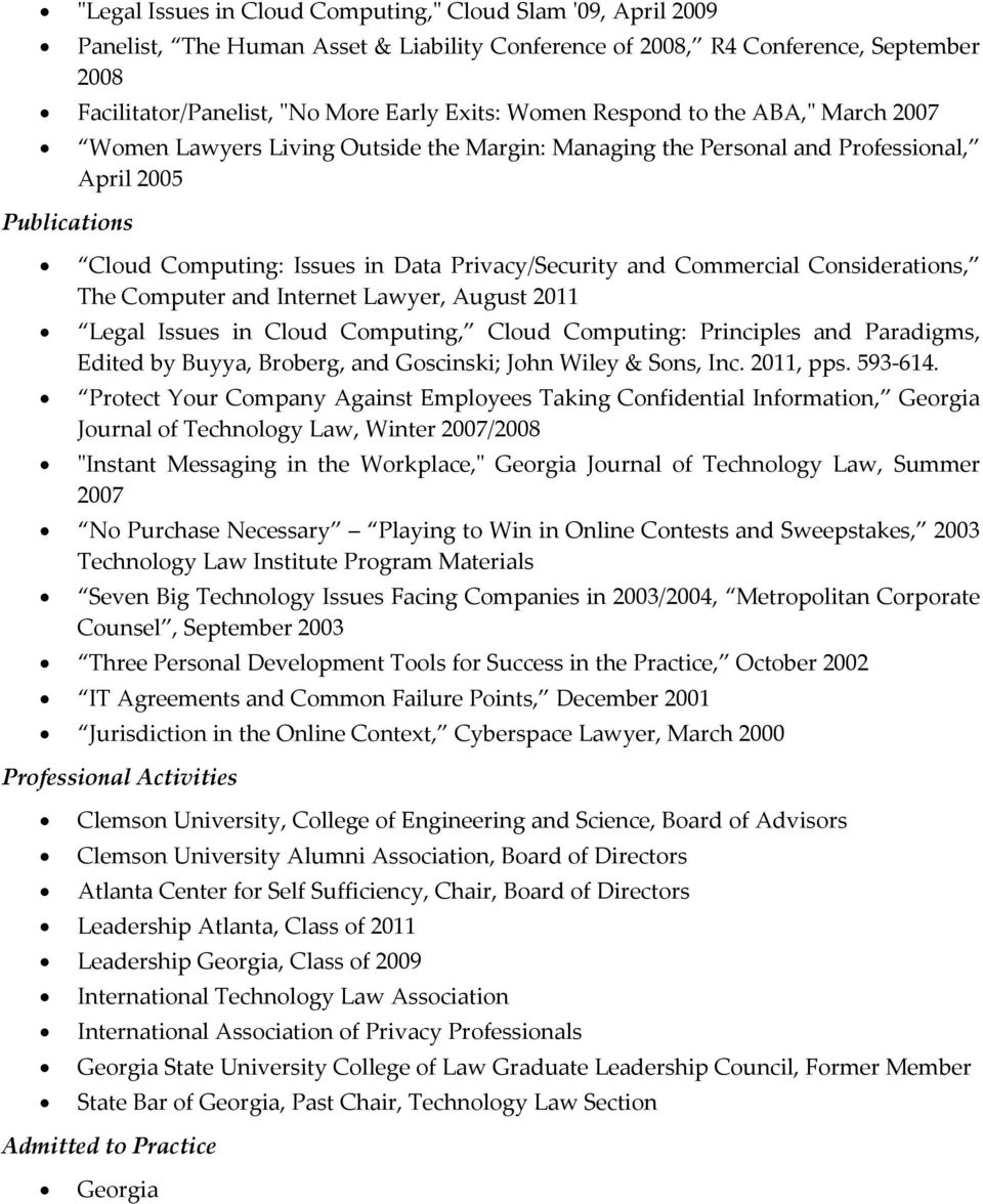 Commercial Considerations, The Computer and Internet Lawyer, August 2011 Legal Issues in Cloud Computing, Cloud Computing: Principles and Paradigms, Edited by Buyya, Broberg, and Goscinski; John