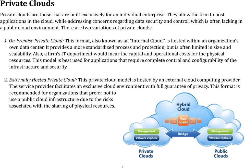 There are two variations of private clouds: 1. On Premise Private Cloud: This format, also known as an Internal Cloud, is hosted within an organization s own data center.
