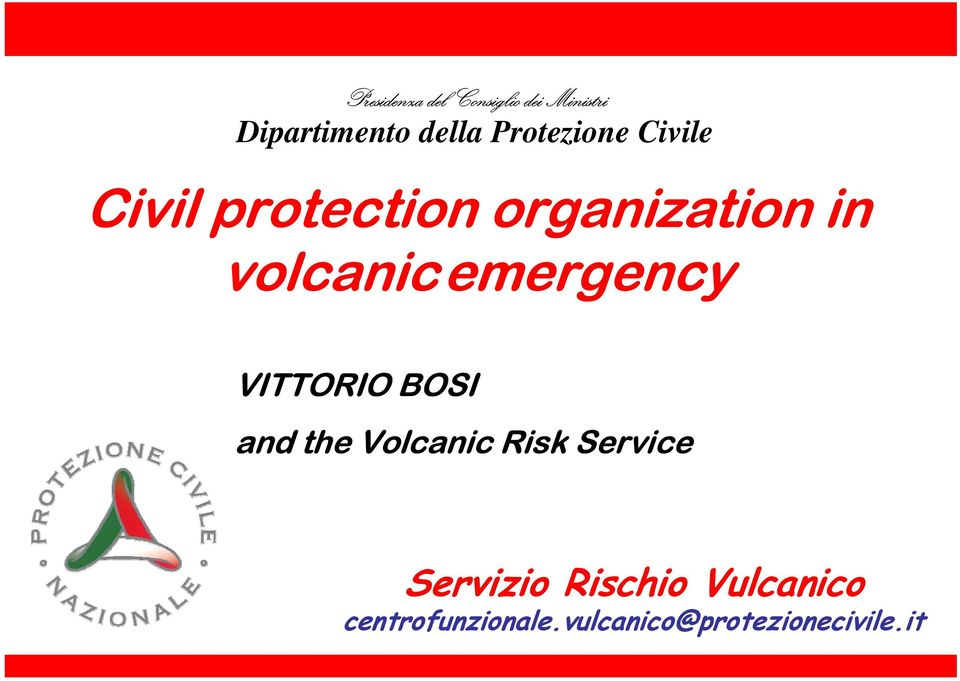 volcanicemergency VITTORIO BOSI and the Volcanic Risk