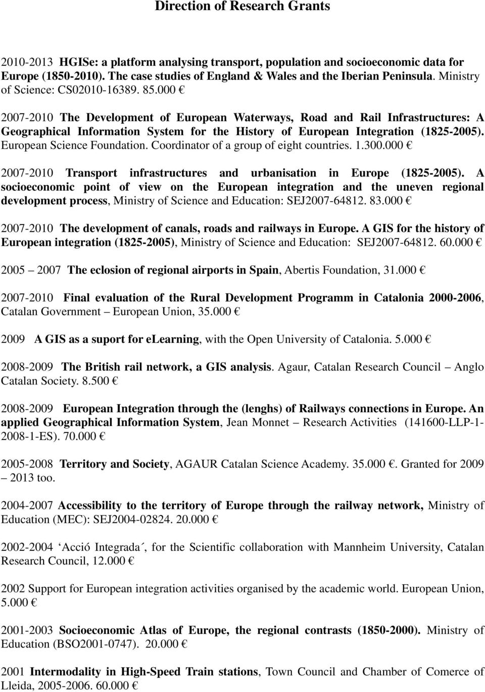 000 2007-2010 The Development of European Waterways, Road and Rail Infrastructures: A Geographical Information System for the History of European Integration (1825-2005). European Science Foundation.