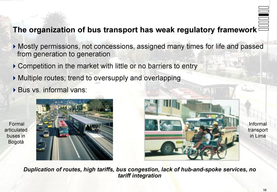 Multiple routes; trend to oversupply and overlapping Bus vs.