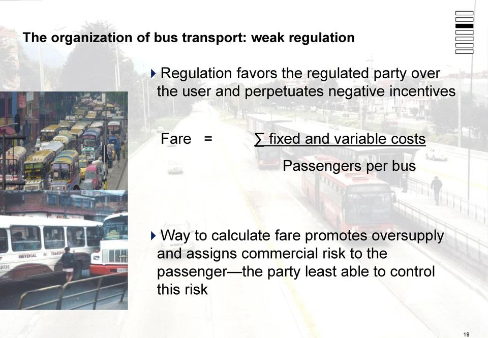 and variable costs Passengers per bus Way to calculate fare promotes oversupply