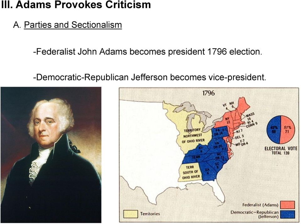 Adams becomes president 1796 election.