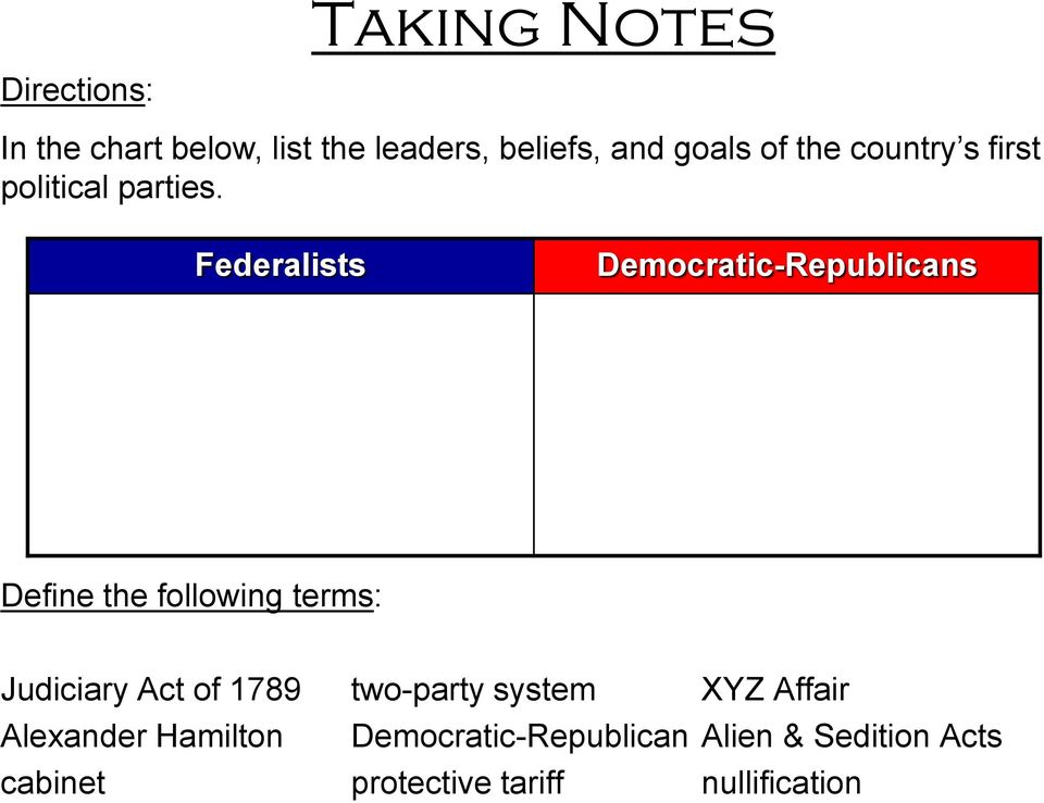 Federalists Democratic-Republicans Define the following terms: Judiciary Act of 1789