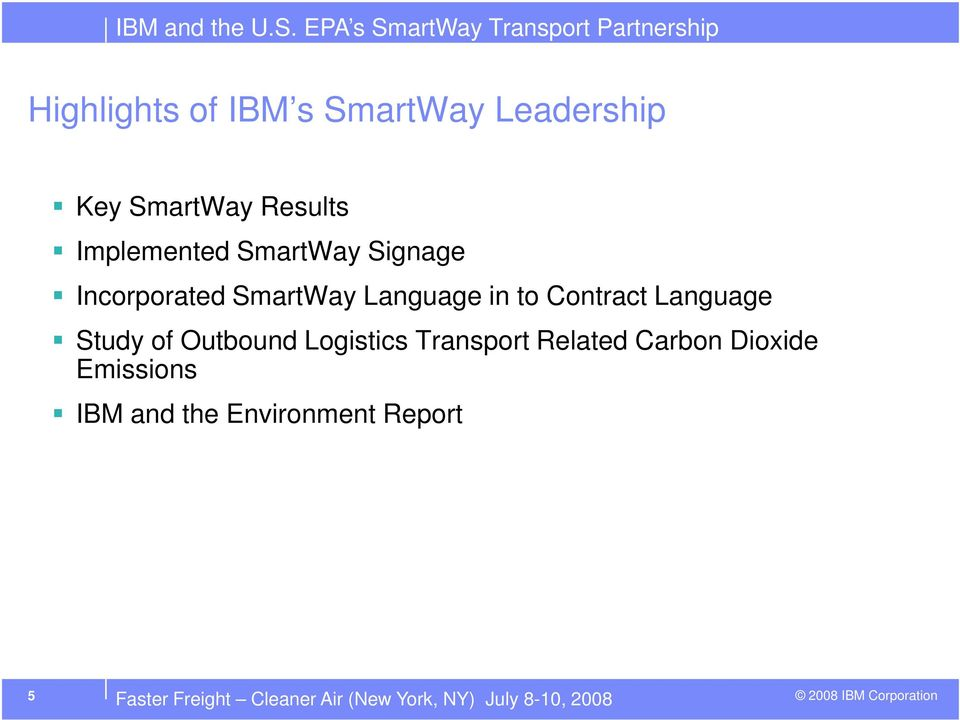 Study of Outbound Logistics Transport Related Carbon Dioxide Emissions IBM