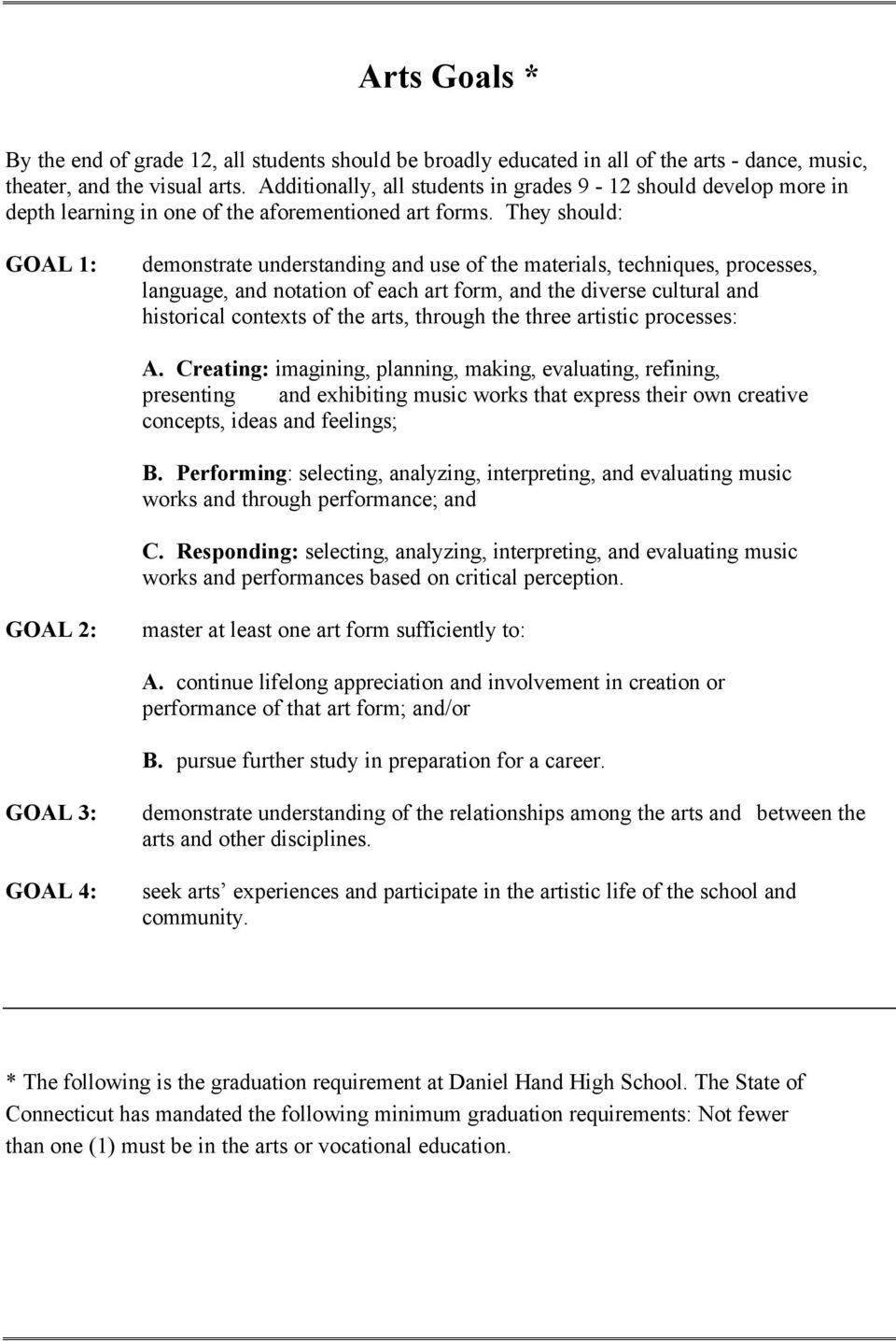 They should: GOAL 1: demonstrate understanding and use of the materials, techniques, processes, language, and notation of each art form, and the diverse cultural and historical contexts of the arts,