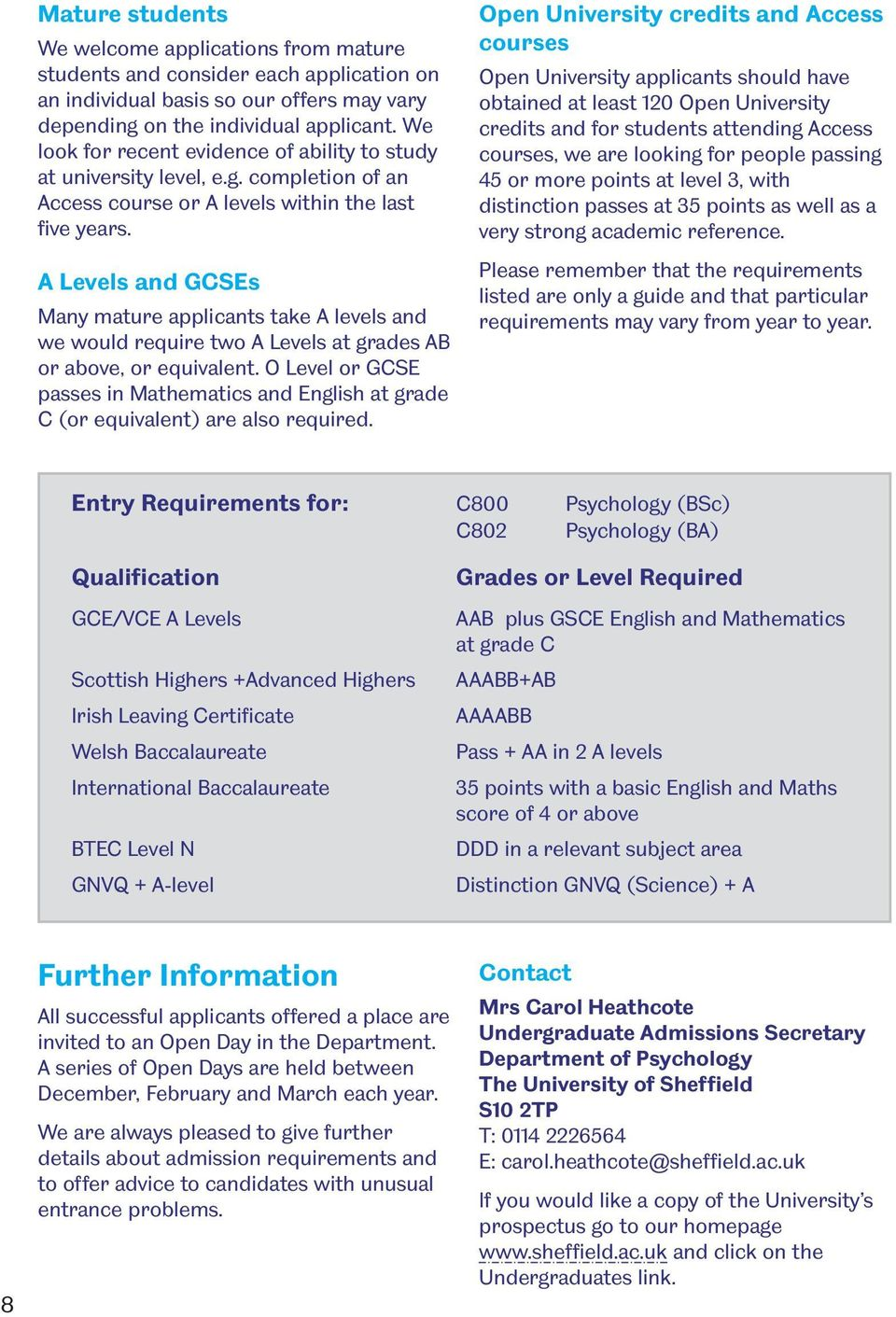 A Levels and GCSEs Many mature applicants take A levels and we would require two A Levels at grades AB or above, or equivalent.