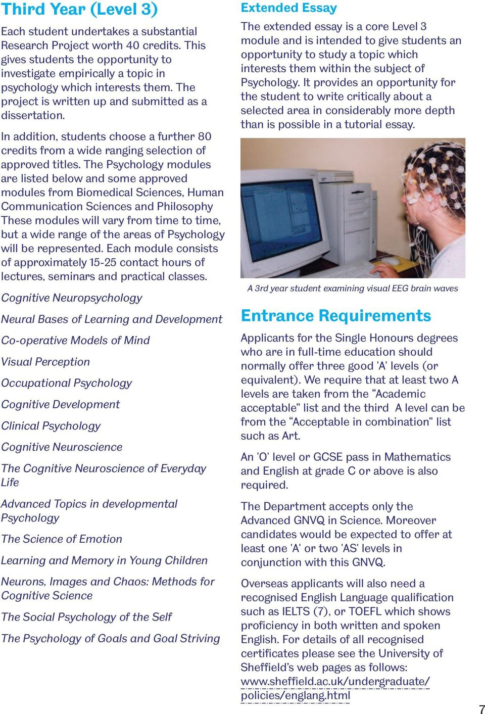 The Psychology modules are listed below and some approved modules from Biomedical Sciences, Human Communication Sciences and Philosophy These modules will vary from time to time, but a wide range of