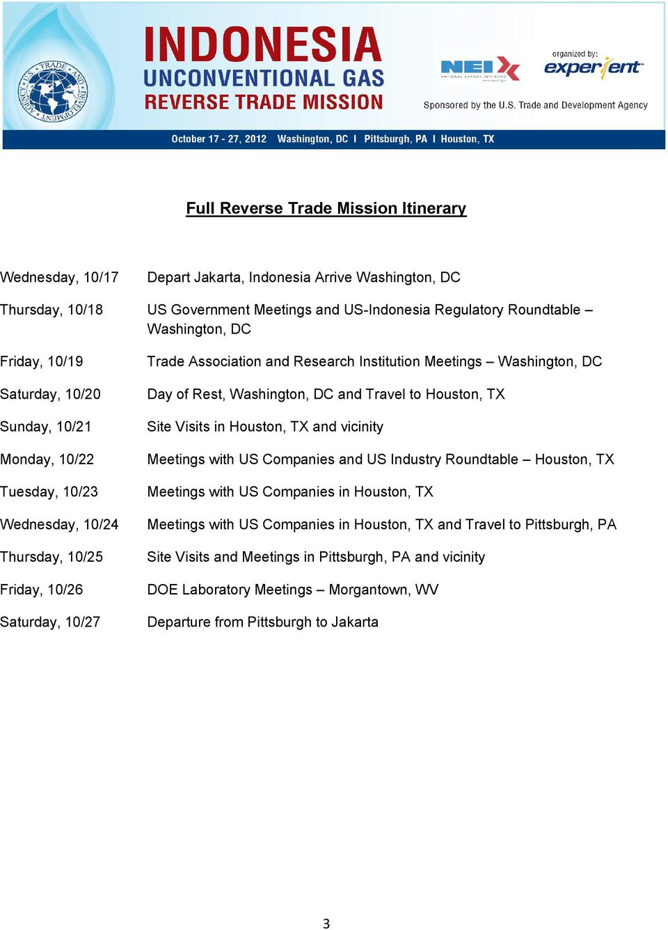 Table of Contents  Industry Roundtable Agenda 2  Trade