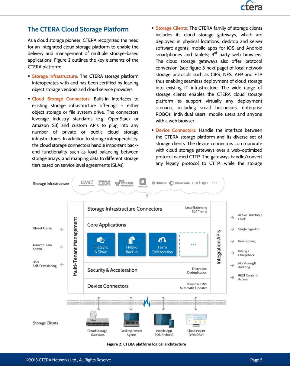 Figure 2 outlines the key elements of the CTERA platform: Storage infrastructure: The CTERA storage platform interoperates with and has been certified by leading object storage vendors and cloud
