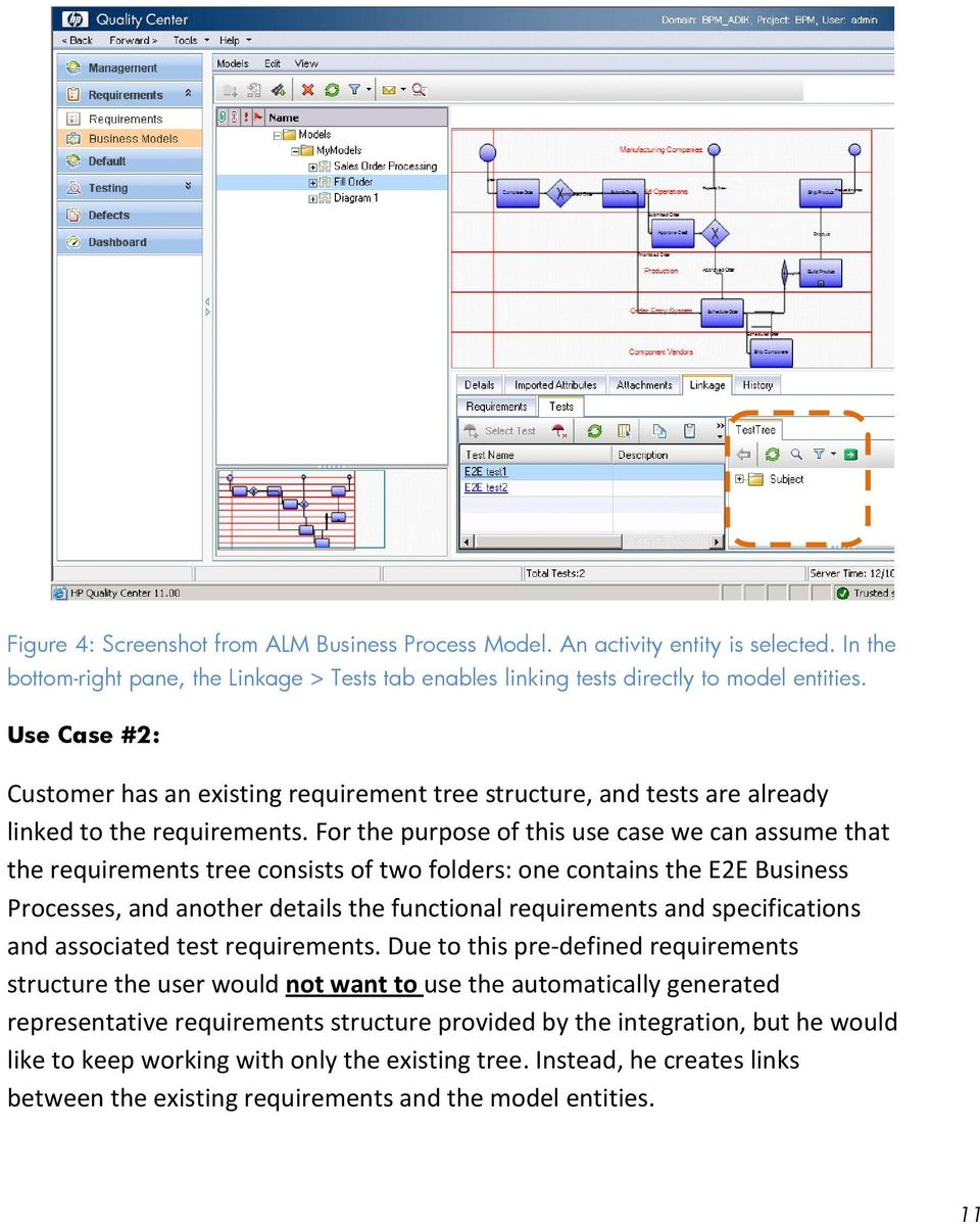 For the purpose of this use case we can assume that the requirements tree consists of two folders: one contains the E2E Business Processes, and another details the functional requirements and