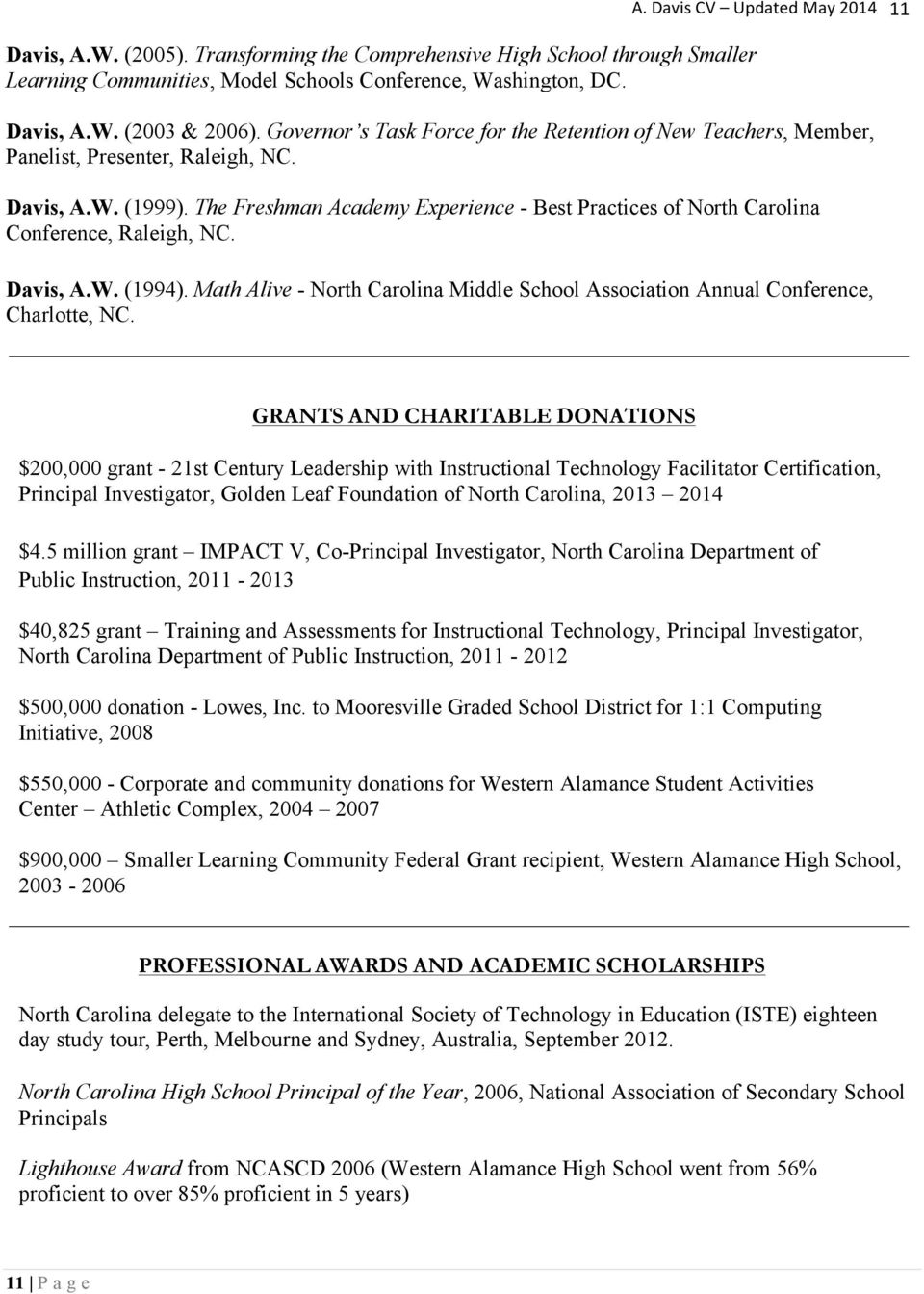The Freshman Academy Experience - Best Practices of North Carolina Conference, Raleigh, NC. Davis, A.W. (1994). Math Alive - North Carolina Middle School Association Annual Conference, Charlotte, NC.