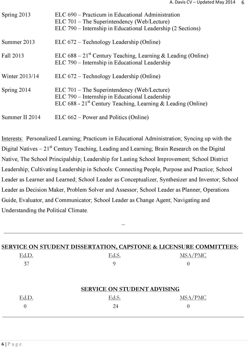 Leadership ELC 672 Technology Leadership (Online) ELC 701 The Superintendency (Web/Lecture) ELC 790 Internship in Educational Leadership ELC 688-21 st Century Teaching, Learning & Leading (Online)
