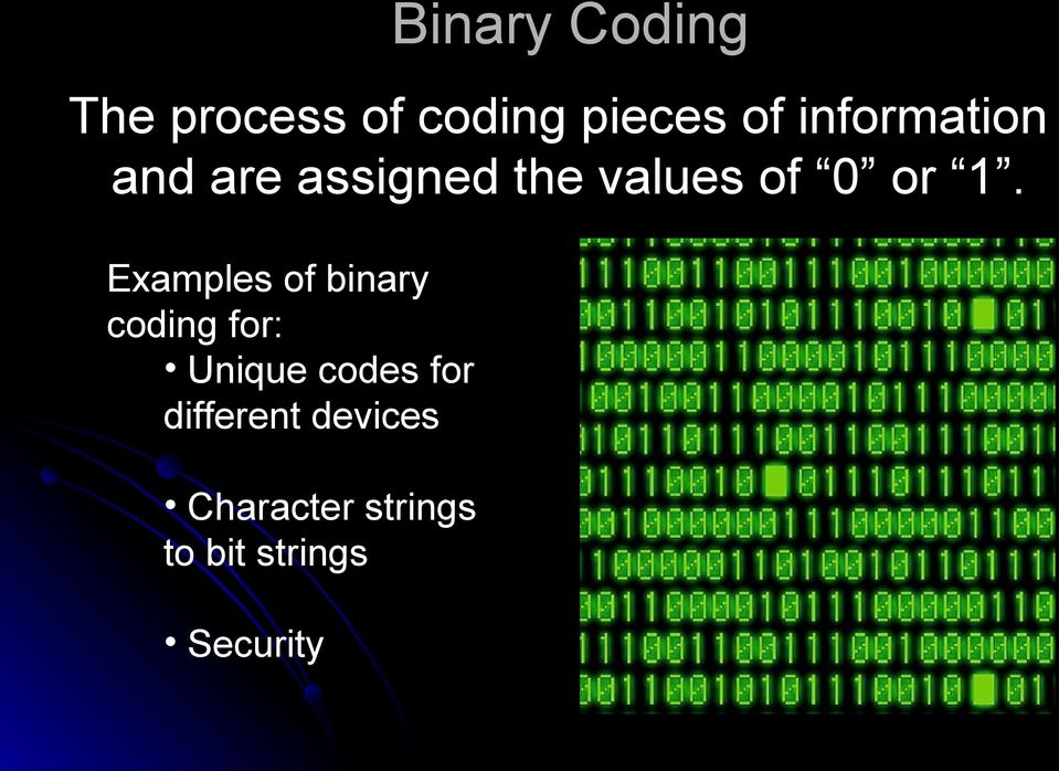 Examples of binary coding for: Unique codes for