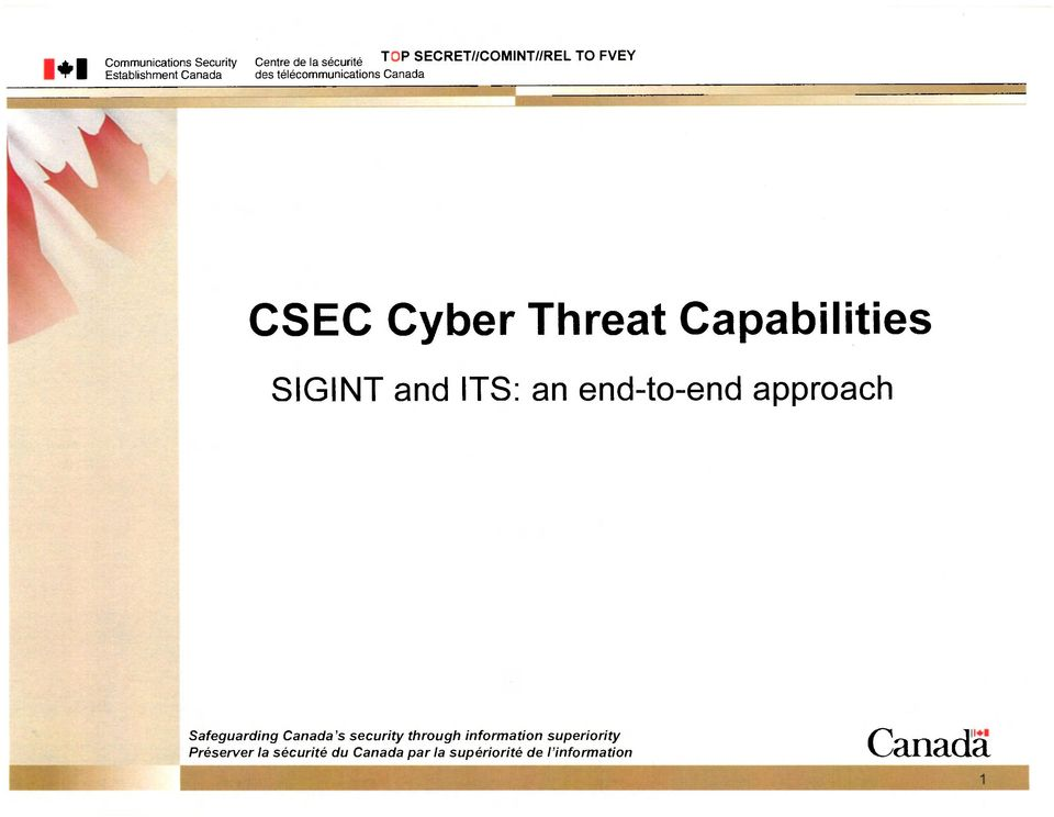 Capabilities SIGINT and ITS: an end-to-end approach