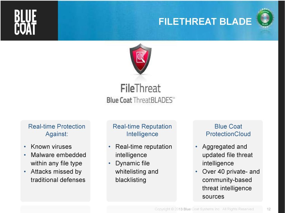 reputation intelligence Dynamic file whitelisting and blacklisting Blue Coat ProtectionCloud