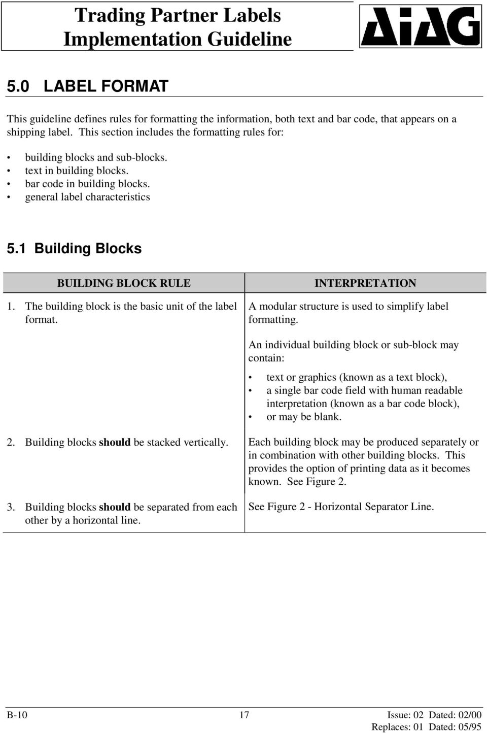 1 Building Blocks BUILDING BLOCK RULE 1. The building block is the basic unit of the label format. A modular structure is used to simplify label formatting.