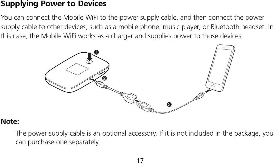 In this case, the Mobile WiFi works as a charger and supplies power to those devices.