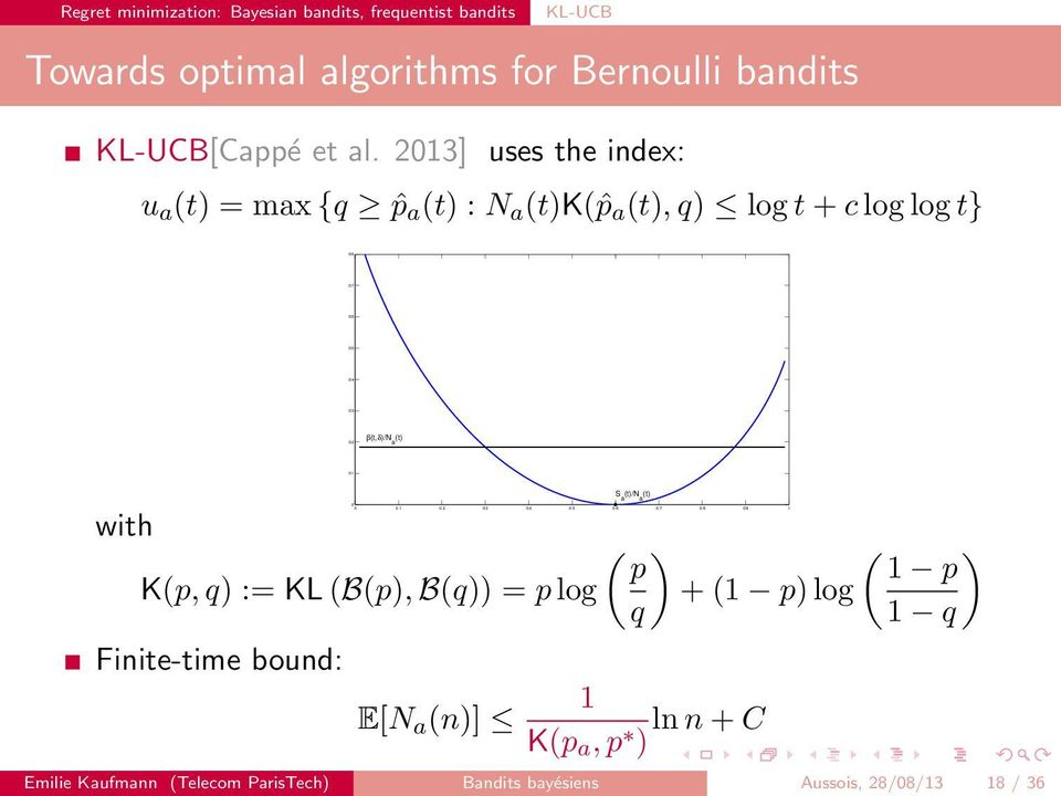 9 1 0 Towards optimal algorithms for Bernoulli bandits KL-UCB[Cappé et al.