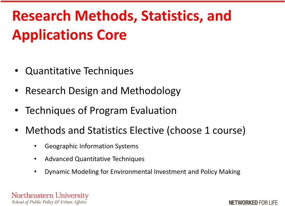 Statistics Elective (choose 1 course) Geographic Information Systems Advanced