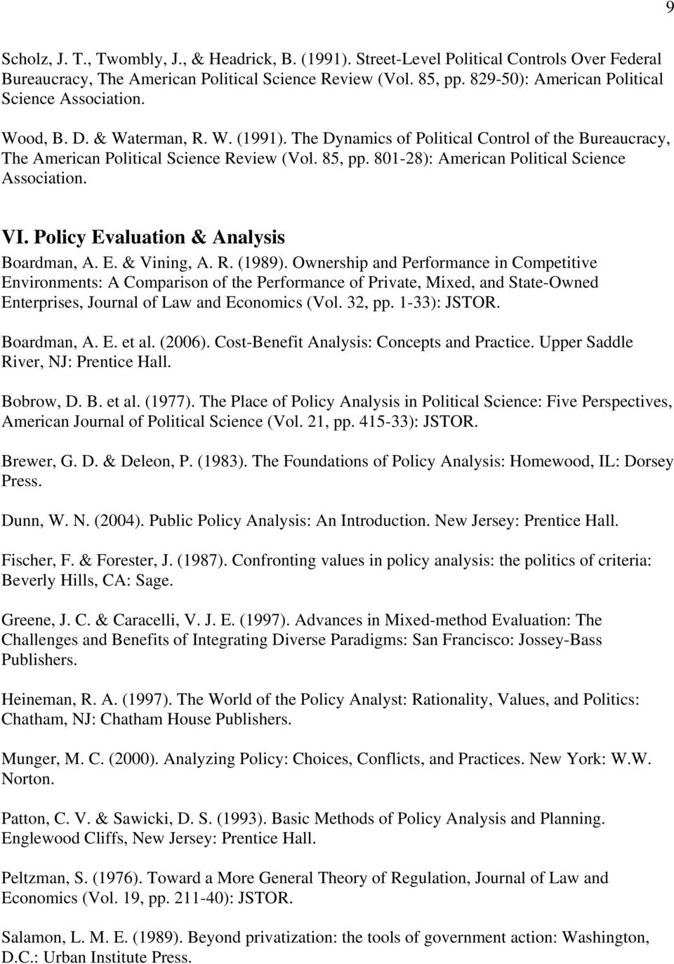 801-28): American Political Science Association. VI. Policy Evaluation & Analysis Boardman, A. E. & Vining, A. R. (1989).