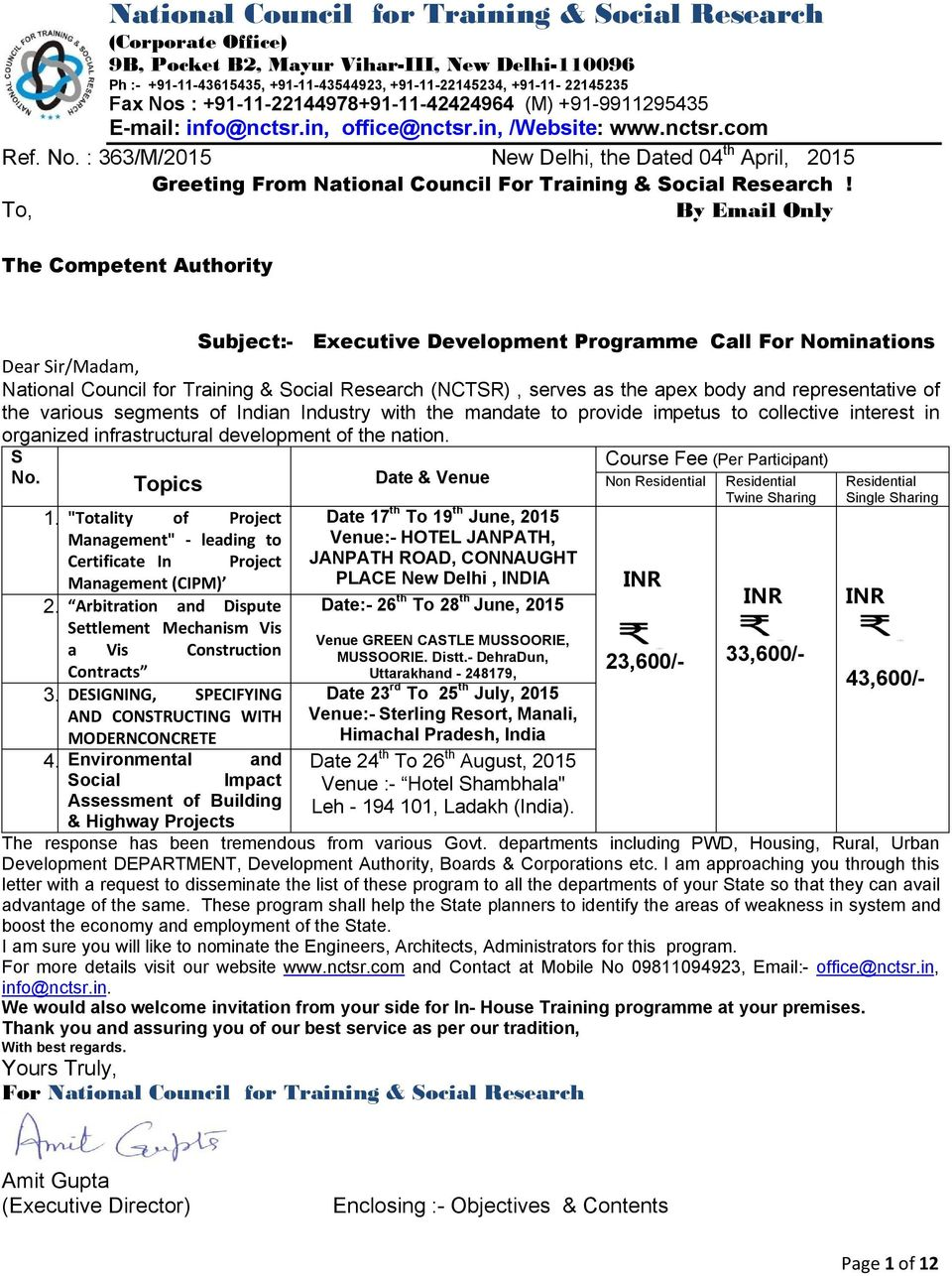 Greeting From National Council For Training Social Research By