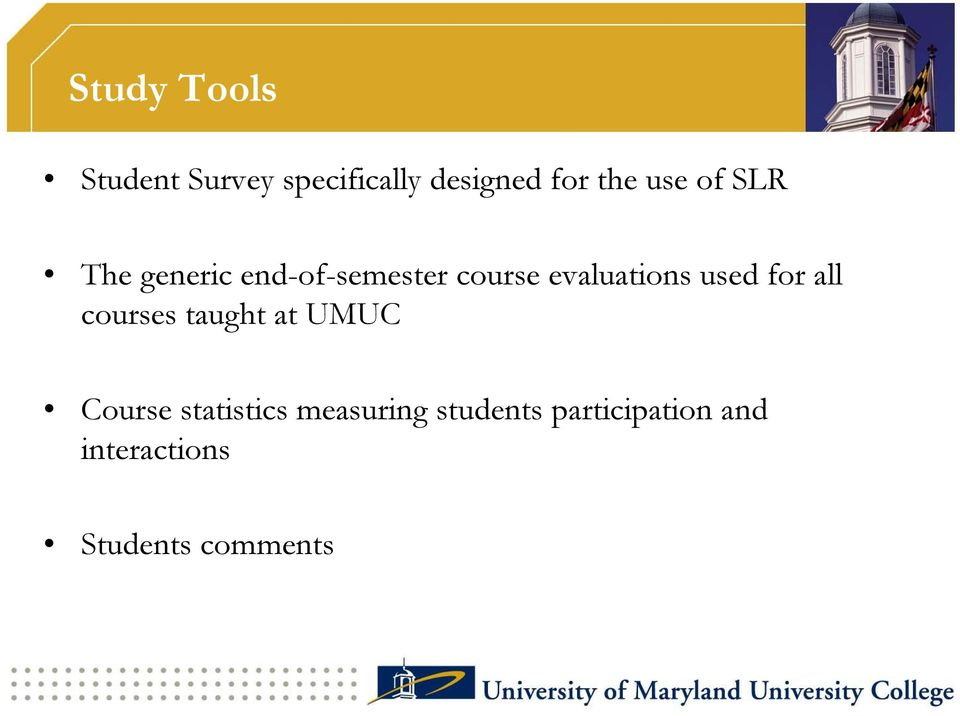 used for all courses taught at UMUC Course statistics