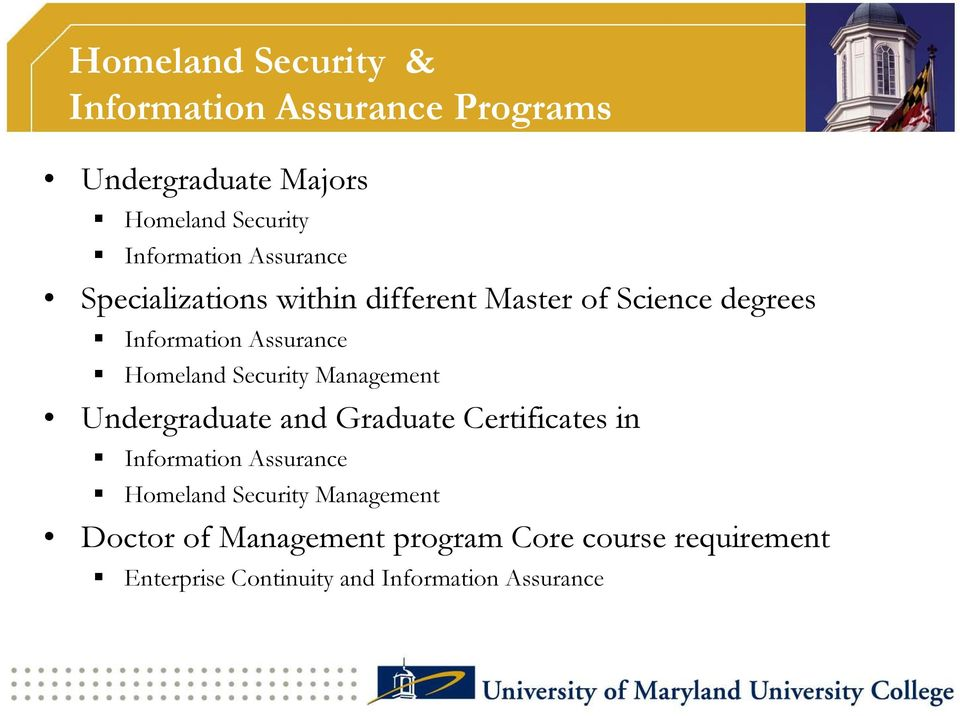 Security Management Undergraduate and Graduate Certificates in Information Assurance Homeland Security
