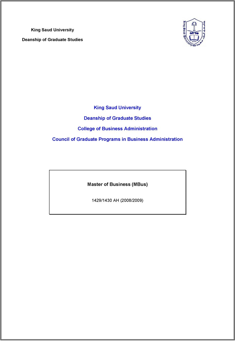 Administration Council of Graduate Programs in Business