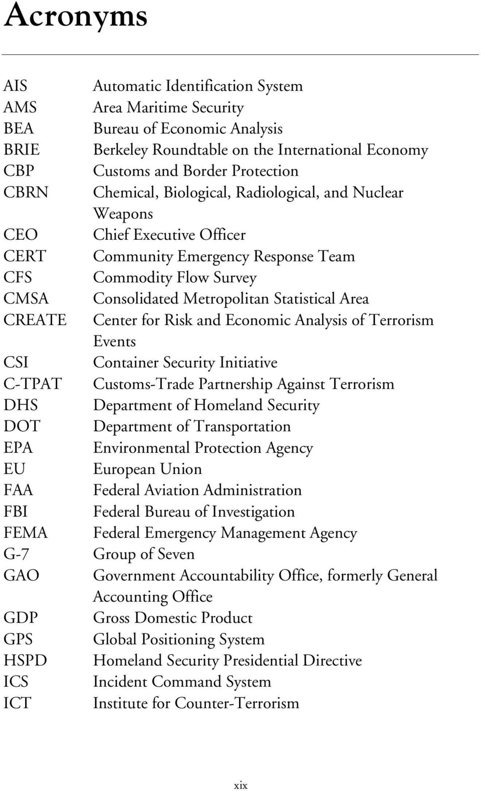 CREATE Center for Risk and Economic Analysis of Terrorism Events CSI Container Security Initiative C-TPAT Customs-Trade Partnership Against Terrorism DHS Department of Homeland Security DOT