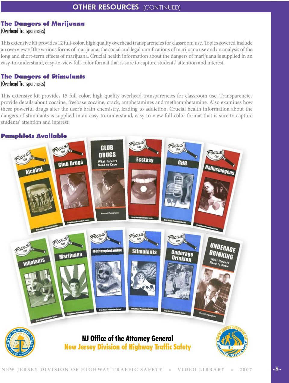 Crucial health information about the dangers of marijuana is supplied in an easy-to-understand, easy-to-view full-color format that is sure to capture students attention and interest.