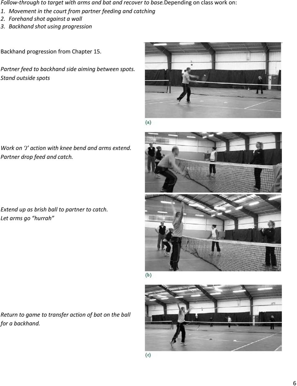 Backhand shot using progression Backhand progression from Chapter 15. Partner feed to backhand side aiming between spots.