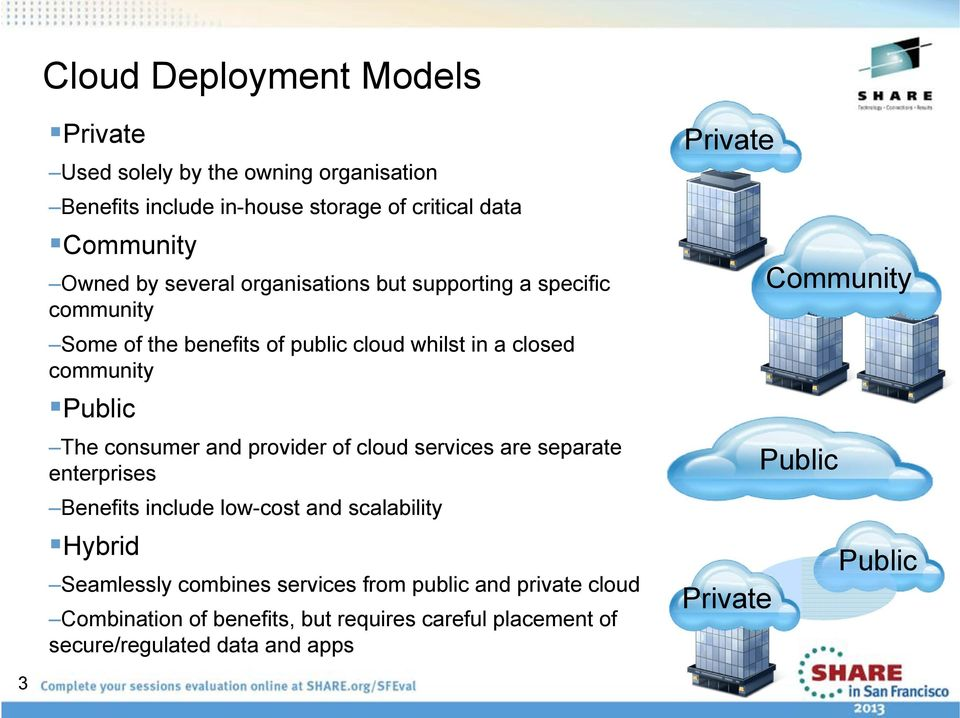 and provider of cloud services are separate enterprises Benefits include low-cost and scalability Hybrid Seamlessly combines services from
