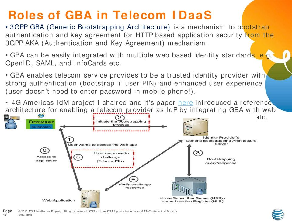 GBA enables telecom service provides to be a trusted identity provider with strong authentication (bootstrap + user PIN) and enhanced user experience (user doesn t need to enter password in mobile