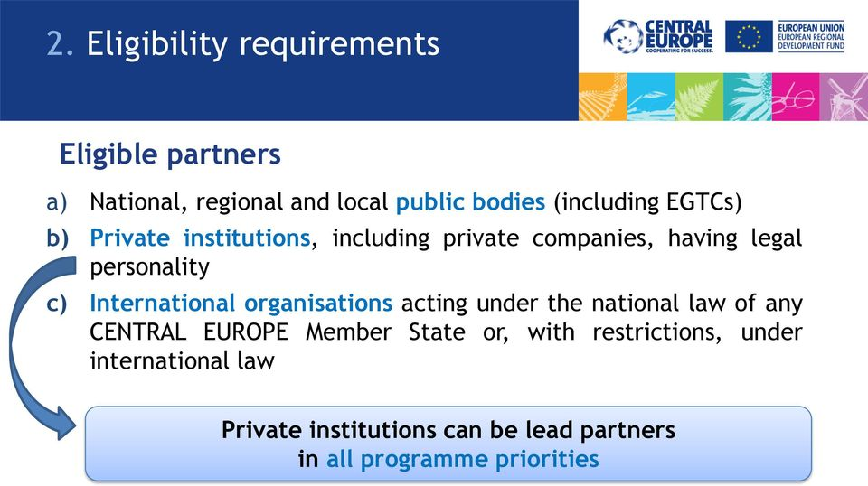 International organisations acting under the national law of any CENTRAL EUROPE Member State or,