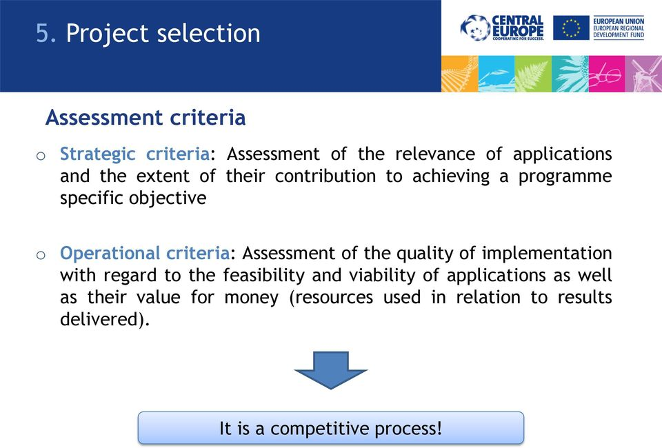 Assessment of the quality of implementation with regard to the feasibility and viability of applications as
