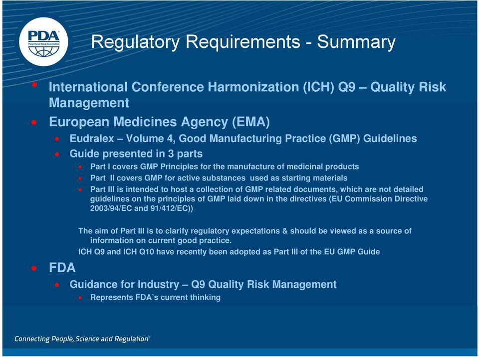 to host a collection of GMP related documents, which are not detailed guidelines on the principles of GMP laid down in the directives (EU Commission Directive 2003/94/EC and 91/412/EC)) FDA The aim