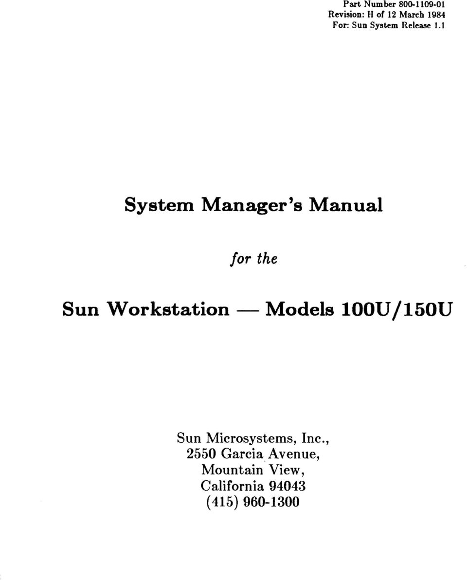 1 System Manager's Manual for the Sun Workstation - Models