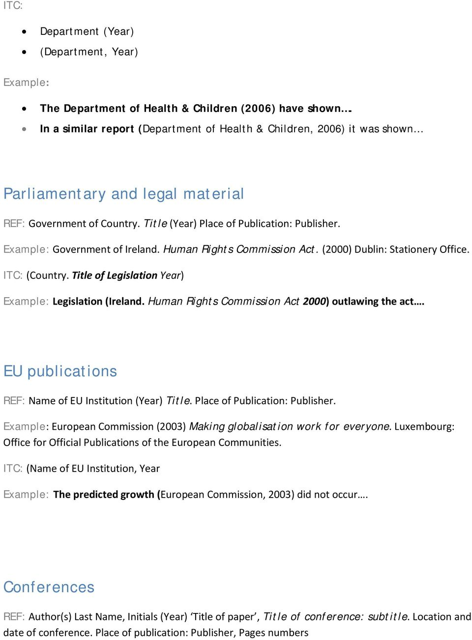 Government of Ireland. Human Rights Commission Act. (2000) Dublin: Stationery Office. (Country. Title of Legislation Year) Legislation (Ireland. Human Rights Commission Act 2000) outlawing the act.