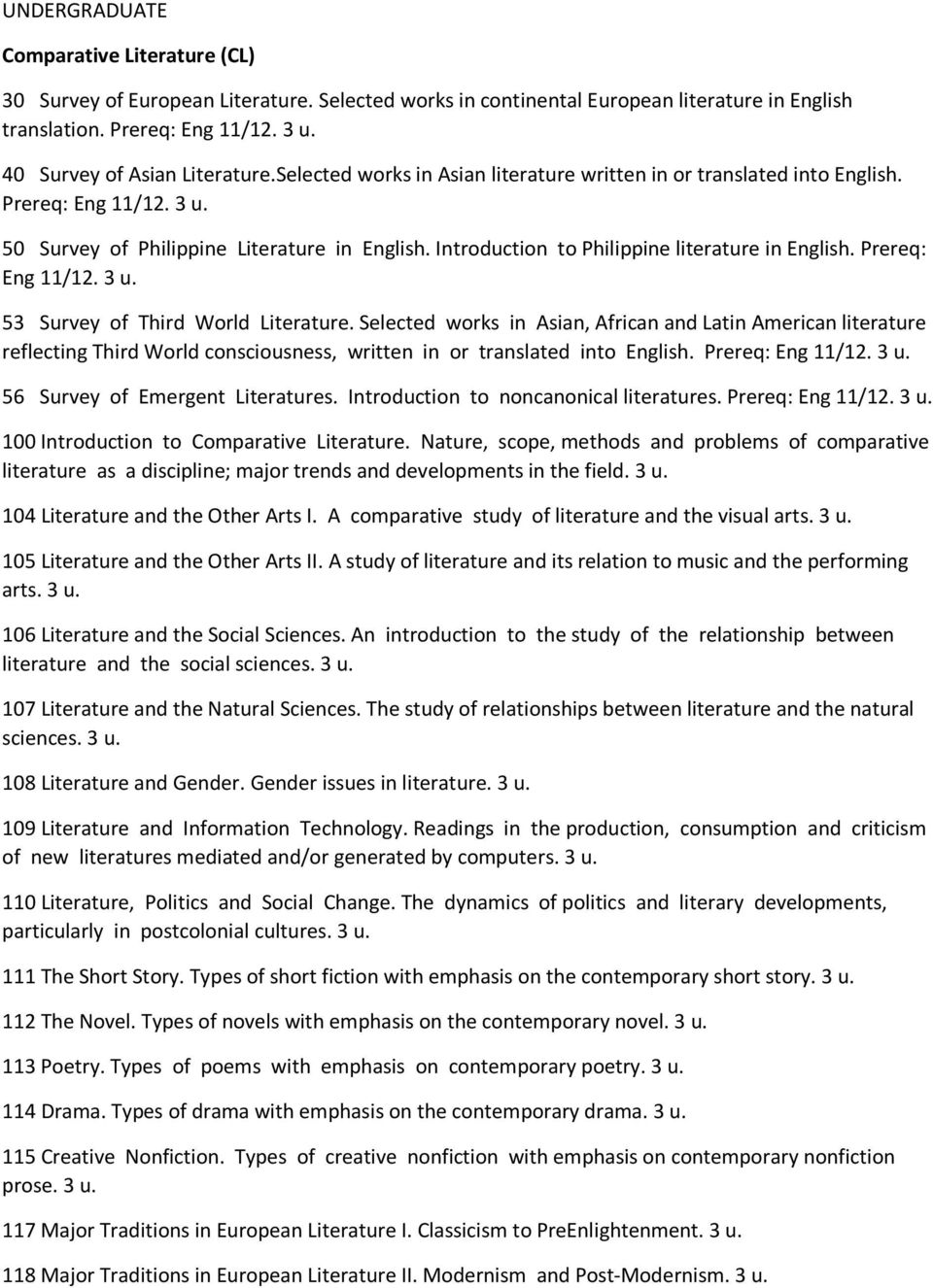 Introduction to Philippine literature in English. Prereq: Eng 11/12. 3 u. 53 Survey of Third World Literature.