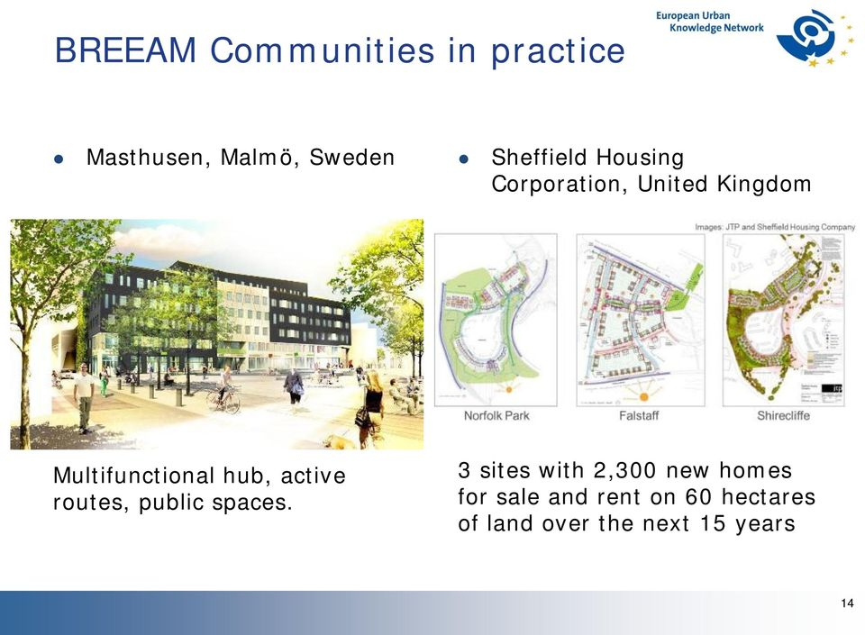 hub, active routes, public spaces.