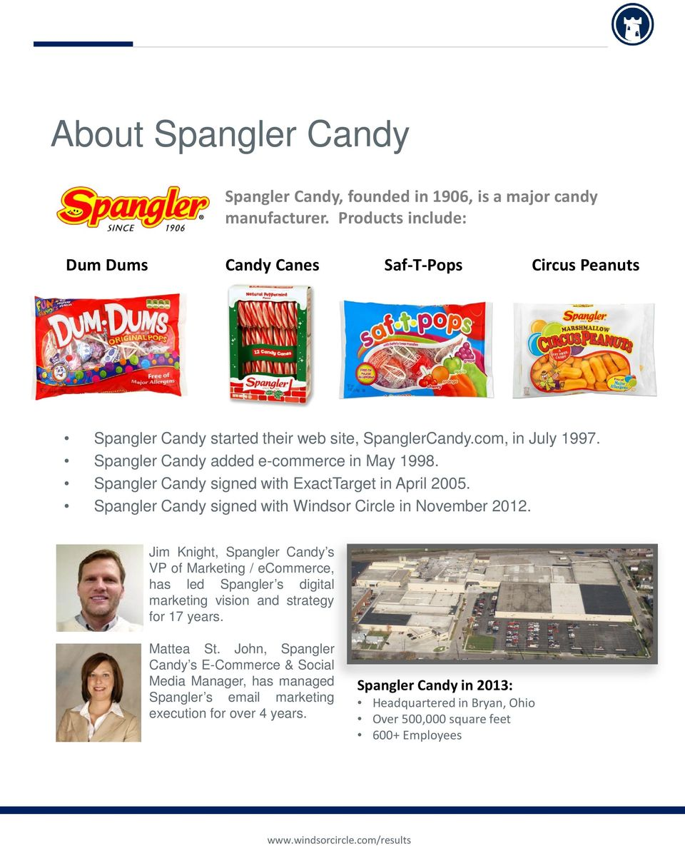 Spangler Candy signed with ExactTarget in April 2005. Spangler Candy signed with Windsor Circle in November 2012.